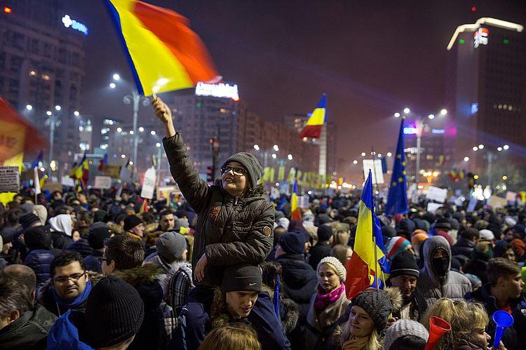 Massenproteste in Bukarest Anfang 2017